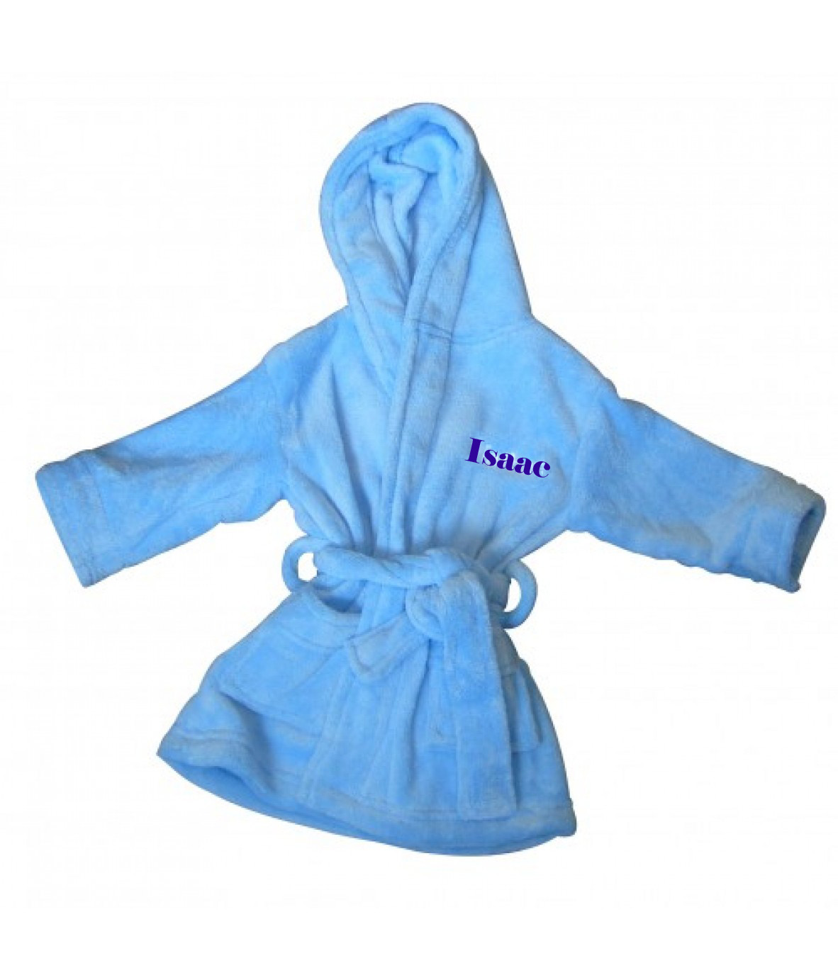 PERSONALISED BABY DRESSING GOWN ROBE - pale blue