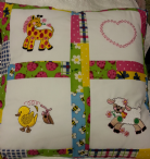 PERSONALISED EMBROIDERED CUSHION WITH ANIMALS THEME - (Sheep, Duck and Horse)