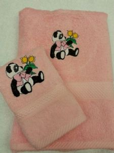 PANDA AND FLOWER PERSONALISED TOWEL SET - Animals